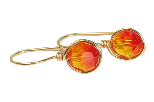 14K yellow gold filled wire wrapped fire opal orange red Swarovski crystal earrings handmade by Jessica Luu Jewelry