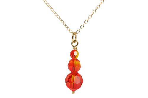 14K yellow gold filled wire wrapped fire opal orange red crystal pendant on chain necklace handmade by Jessica Luu Jewelry