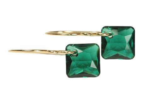 14K yellow gold filled emerald green Swarovski crystal dangle earrings handmade by Jessica Luu Jewelry