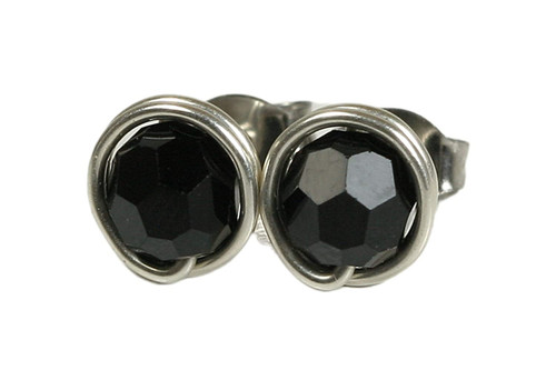 Sterling silver wire wrapped jet black Swarovski crystal round stud earrings handmade by Jessica Luu Jewelry