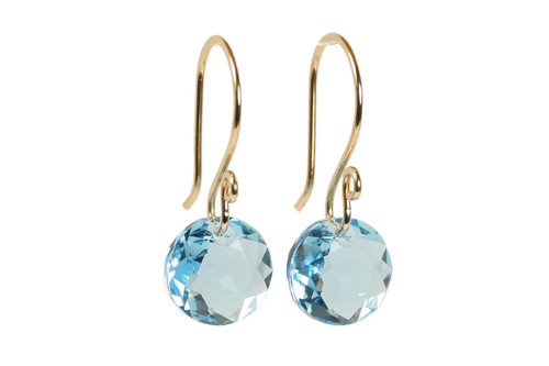 14K yellow gold filled aquamarine blue Swarovski crystal dangle earrings handmade by Jessica Luu Jewelry