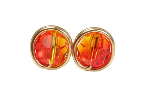 14K yellow gold filled wire wrapped fire opal orange crystal stud earrings handmade by Jessica Luu Jewelry
