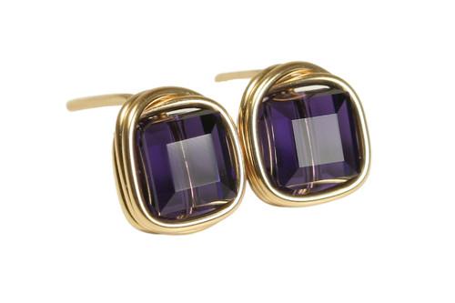 14K yellow gold filled wire wrapped dark purple velvet crystal cube stud earrings handmade by Jessica Luu Jewelry