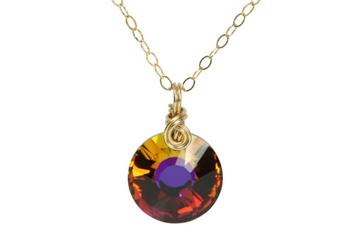 14K yellow gold filled wire wrapped orange purple volcano Swarovski crystal pendant on chain necklace handmade by Jessica Luu Jewelry
