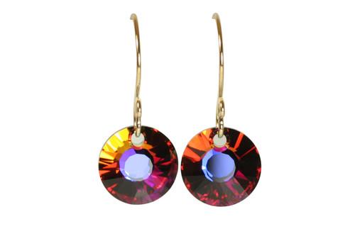 14K yellow gold filled volcano orange red crystal dangle earrings handmade by Jessica Luu Jewelry