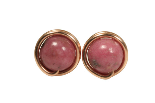 14K rose gold filled wire wrapped rhodonite pink gemstone stud earrings handmade by Jessica Luu Jewelry