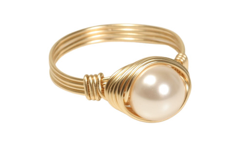 14K yellow gold filled wire wrapped ivory creamrose Swarovski pearl solitaire ring handmade by Jessica Luu Jewelry