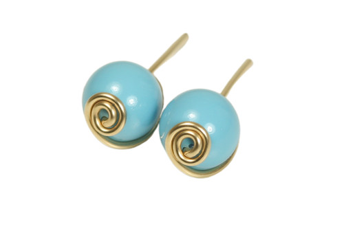 14K yellow gold filled wire wrapped turquoise blue stud earrings handmade by Jessica Luu Jewelry