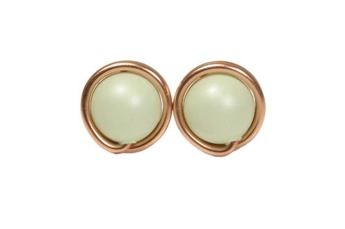 14K rose gold filled wire wrapped pastel light green Swarovski pearl stud earrings handmade by Jessica Luu Jewelry