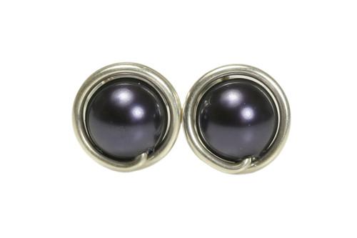 Sterling silver wire wrapped dark purple pearl stud earrings handmade by Jessica Luu Jewelry