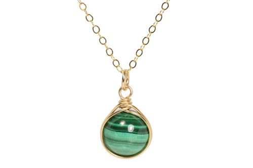 14K yellow gold filled wire wrapped malachite gemstone necklace handmade by Jessica Luu Jewelry