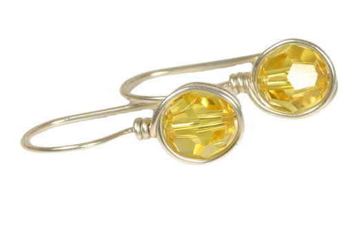 Sterling silver wire wrapped light topaz yellow crystal drop earrings handmade by Jessica Luu Jewelry