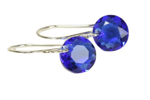 Sterling silver majestic blue crystal dangle earrings handmade by Jessica Luu Jewelry