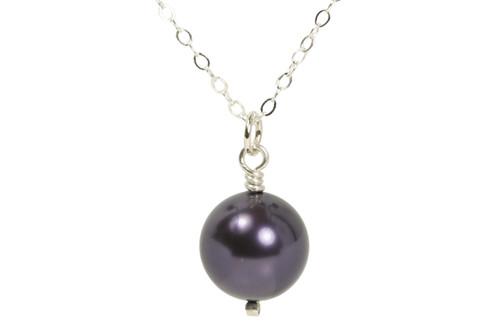 Sterling silver wire wrapped dark purple Swarovski pearl solitaire necklace handmade by Jessica Luu Jewelry
