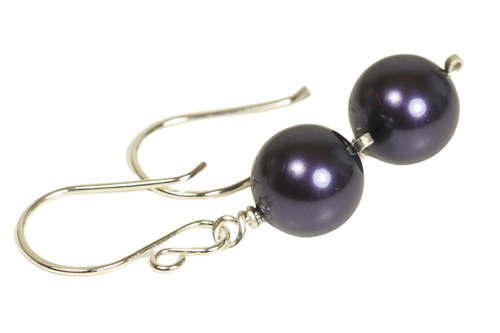 Sterling silver wire wrapped dark purple Swarovski pearl dangle earrings handmade by Jessica Luu Jewelry