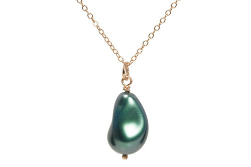 14K rose gold filled wire wrapped iridescent Tahitian Swarovski baroque teardrop pearl necklace handmade by Jessica Luu Jewelry
