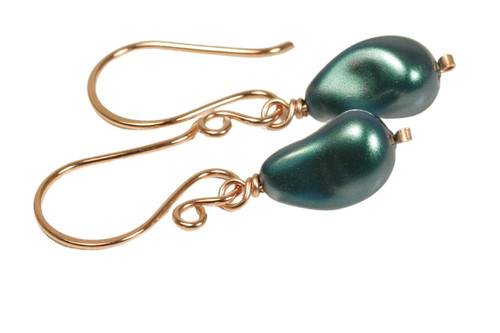 14K rose gold filled wire wrapped iridescent Tahitian Swarovski baroque teardrop pearl dangle earrings handmade by Jessica Luu Jewelry