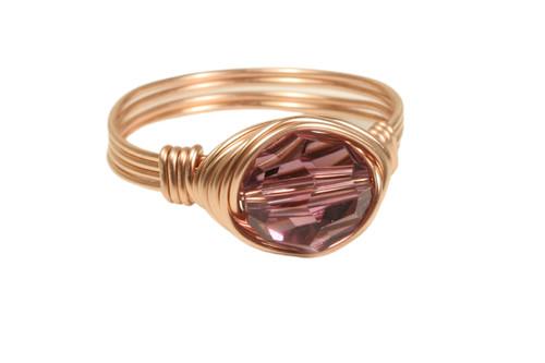14K rose gold filled wire wrapped iris purple Swarovski crystal ring handmade by Jessica Luu Jewelry