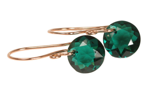 14K rose gold filled earrings with emerald green crystal dangles handmade by Jessica Luu Jewelry