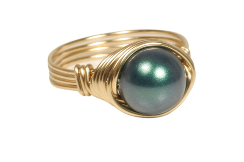 14K yellow gold filled wire wrapped iridescent Tahitian Swarovski pearl solitaire ring handmade by Jessica Luu Jewelry