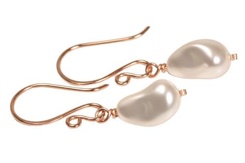 14K rose gold filled white pearl dangle earrings handmade by Jessica Luu Jewelry