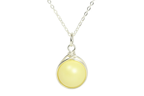 Sterling silver wire wrapped pastel yellow Swarovski pearl solitaire necklace handmade by Jessica Luu Jewelry