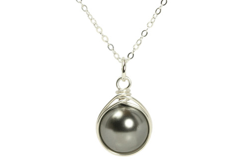 Sterling silver wire wrapped dark grey pearl solitaire necklace handmade by Jessica Luu Jewelry
