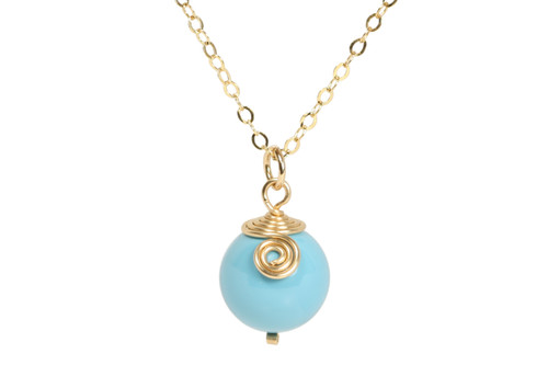 14K yellow gold filled wire wrapped turquoise blue Swarovski pearl solitaire necklace handmade by Jessica Luu Jewelry