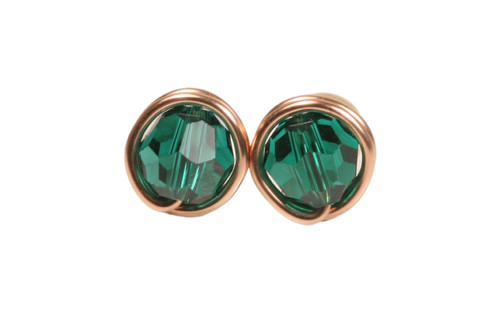 14K rose gold filled wire wrapped emerald green Swarovski crystal stud earrings handmade by Jessica Luu Jewelry