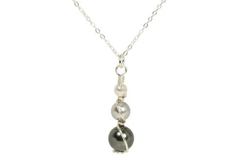 Sterling silver wire wrapped grey pearl necklace handmade by Jessica Luu Jewelry