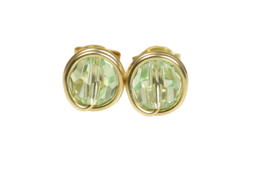 14K gold filled wire wrapped chrysolite light green crystal stud earrings handmade by Jessica Luu Jewelry