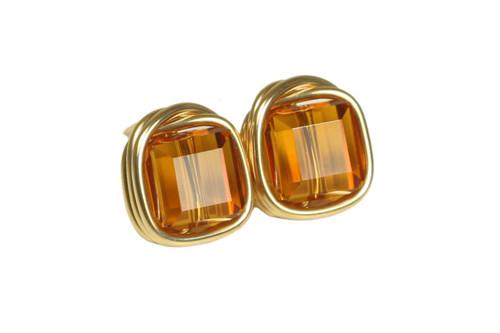 14K gold filled wire wrapped orange topaz  cube crystal stud earrings handmade by Jessica Luu Jewelry