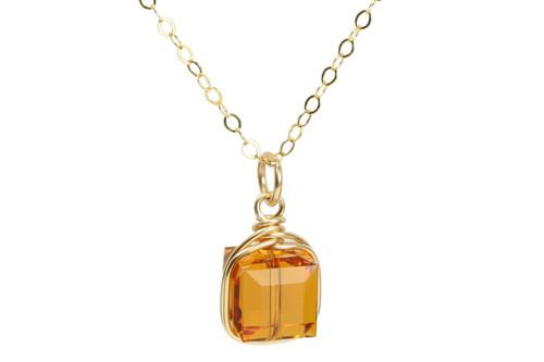 14k gold filled wire wrapped pendant on chain necklace with orange topaz Swarovski crystal cube handmade by Jessica Luu Jewelry