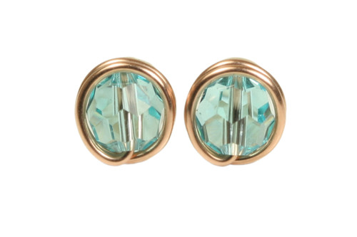 14K rose gold filled wire wrapped light turquoise crystal stud earrings handmade by Jessica Luu Jewelry