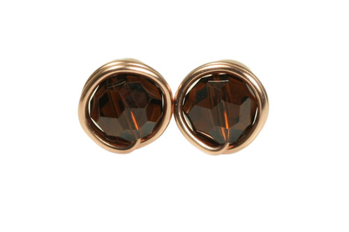 14K rose gold filled wire wrapped mocca crystal stud earrings handmade by Jessica Luu Jewelry