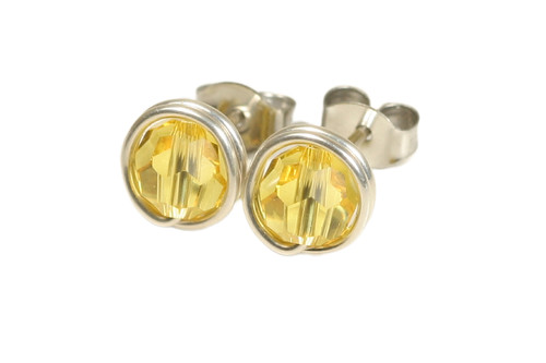 Sterling silver wire wrapped light topaz crystal stud earrings handmade by Jessica Luu Jewelry