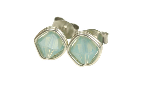 Sterling silver wire wrapped Pacific opal crystal stud earrings handmade by Jessica Luu Jewelry