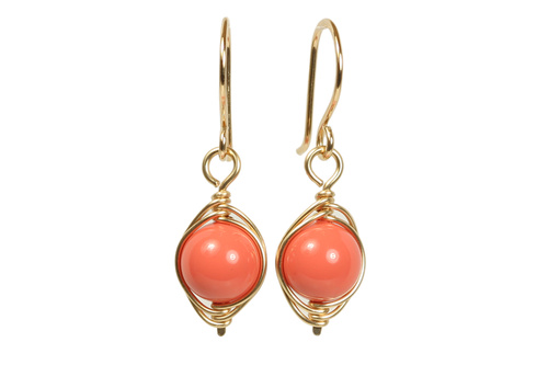 14K gold filled wire wrapped orange coral nacre pearl dangle earrings handmade by Jessica Luu Jewelry