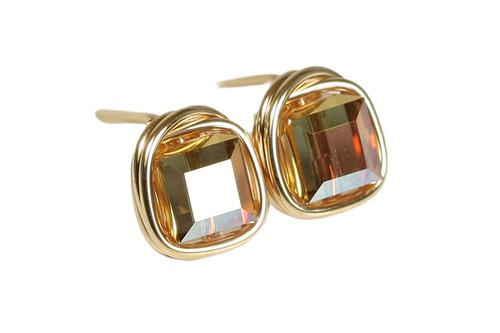 14K yellow gold filled wire wrapped metallic sunshine crystal stud earrings handmade by Jessica Luu Jewelry