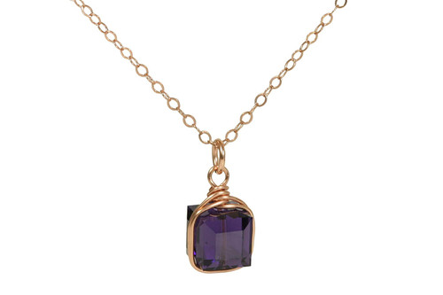 14K rose gold filled wire wrapped purple velvet crystal necklace handmade by Jessica Luu Jewelry