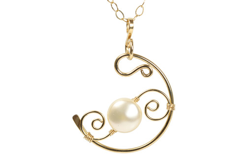 14K gold filled wire wrapped cream flat coin pearl necklace handmade by Jessica Luu Jewelry