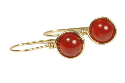 14K gold filled wire wrapped carnelian red gemstone earrings handmade by Jessica Luu Jewelry