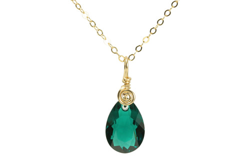 14K gold filled wire wrapped emerald green crystal teardrop pendant on chain necklace handmade by Jessica Luu Jewelry