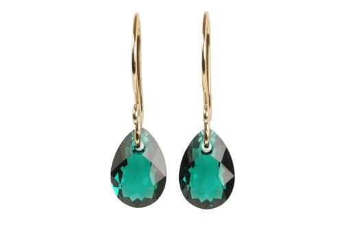 Emerald green pear shaped crystal earrings in 14K gold filled handmade by Jessica Luu Jewelry