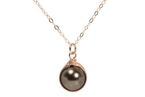14K rose gold filled wire wrapped chocolate brown pearl solitaire necklace handmade by Jessica Luu Jewelry