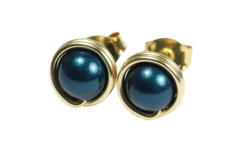 14K gold filled wire wrapped dark blue petrol pearl stud earrings handmade by Jessica Luu Jewelry