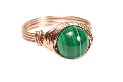 14K rose gold filled wire wrapped malachite green gemstone ring handmade by Jessica Luu Jewelry