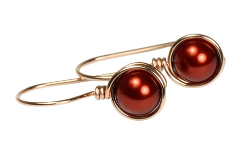 14K rose gold filled wire wrapped copper pearl drop earrings handmade by Jessica Luu Jewelry