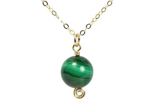 14K yellow gold filled malachite gemstone necklace handmade by Jessica Luu Jewelry