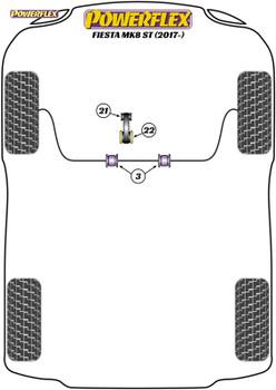 Powerflex Track Lower Torque Mount, Track Use - Fiesta MK8 ST 200 (2017 - ON) - PFF19-2222BLK